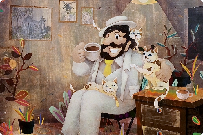 宜蘭景點⎪金車員山藝文中心。新亮點:可愛的伯朗先生60種KUSO版在這裡!有維梅爾畫風、跟月兔喝咖啡的伯朗阿伯,快來當文青拍一回! @捲捲頭 ♡ 品味生活